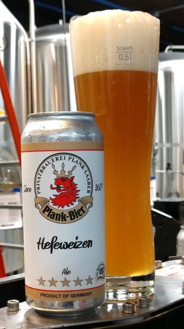 Plank Hefeweizen 16oz can and glass